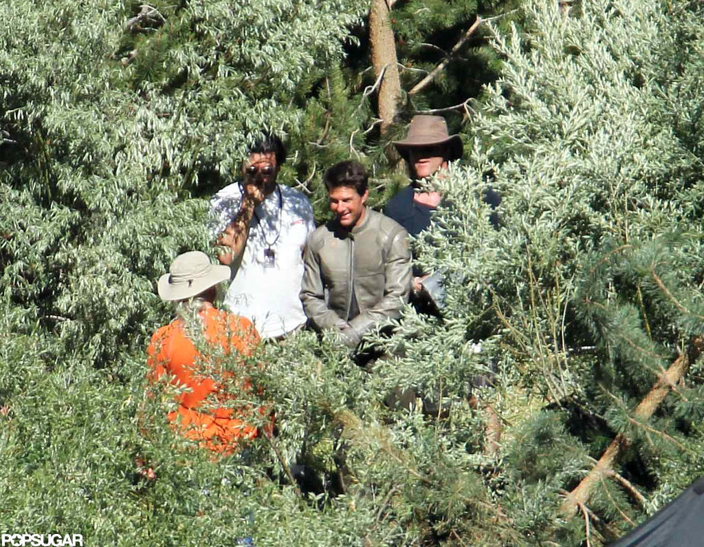Tom Cruise made his way through the trees on the Oblivion set in CA.