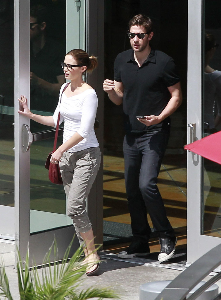 Emily Blunt and John Krasinski exited a movie theater in West Hollywood.