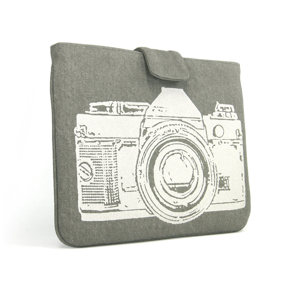 Gray Denim With White Camera Print iPad Sleeve ($50)