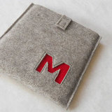 Custom Monogram Gray Felt Kindle Case ($45)