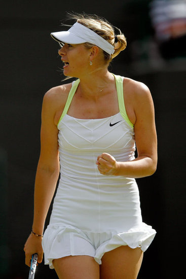 Neon yellow straps and a ruffled hemline showed off Maria Sharapova's fashion sense at the 2012 Wimbledon championships tournament.