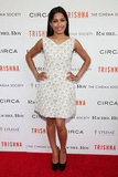 The stunning starlet chose a moonstone-embellished white Rachel Roy Resort '13 dress for the NYC screening of Trishna. As a cool offset, she paired the sheath with black and gold Brian Atwood pumps.