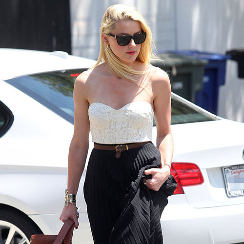 Amber Heard Wearing Strapless Lace Top