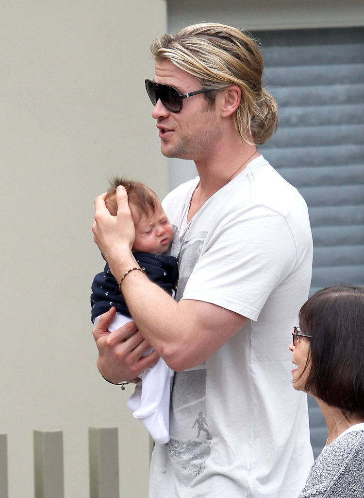 Chris Hemsworth carried baby India in LA.