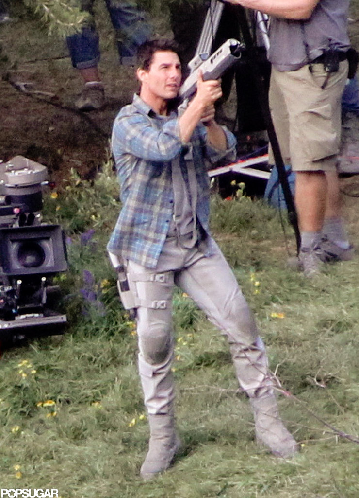 Tom Cruise in action during filming.