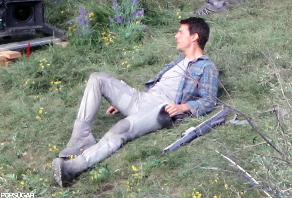 Tom Cruise on set filming Oblivion in Mammoth Lake, CA.