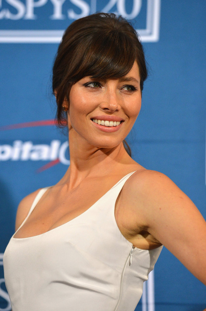 Jessica Biel flashed an over the shoulder smile.