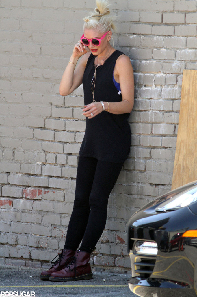Gwen Stefani wore an all-black ensemble in Hollywood.