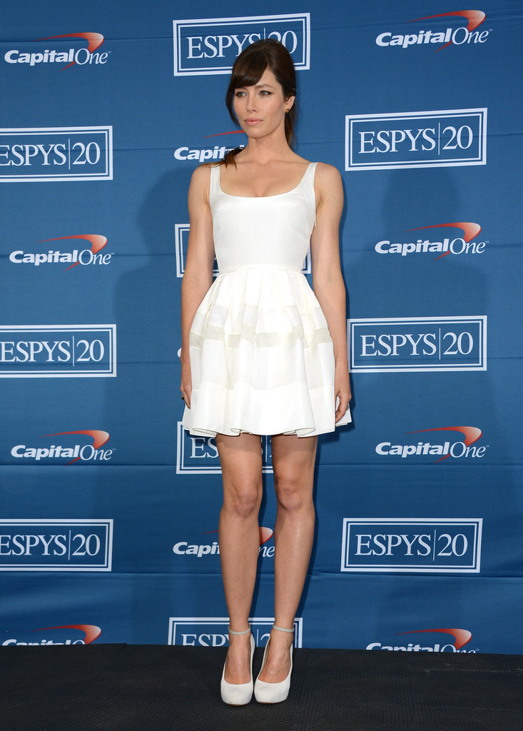 Jessica Biel showed off her figure in a white dress.
