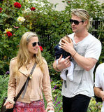 Chris Hemsworth and Elsa Pataky Take Baby India to Breakfast