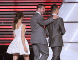 Presenters Jessica Biel and Tim Tebow exited the stage with ESPY winner Jeremy Lin.
