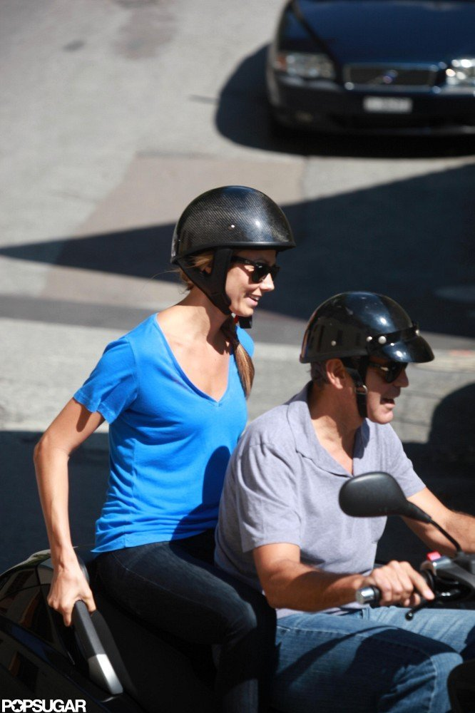 Stacy Keibler held onto the side of the scooter for extra support.
