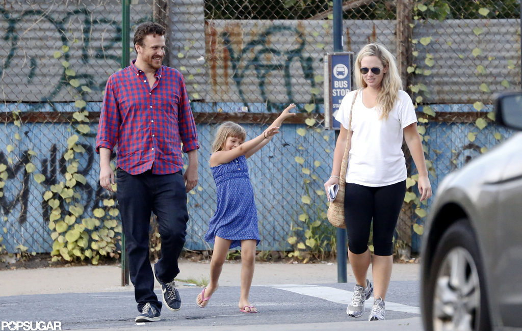 Jason Segel smiled with Matilda Ledger in Brooklyn.