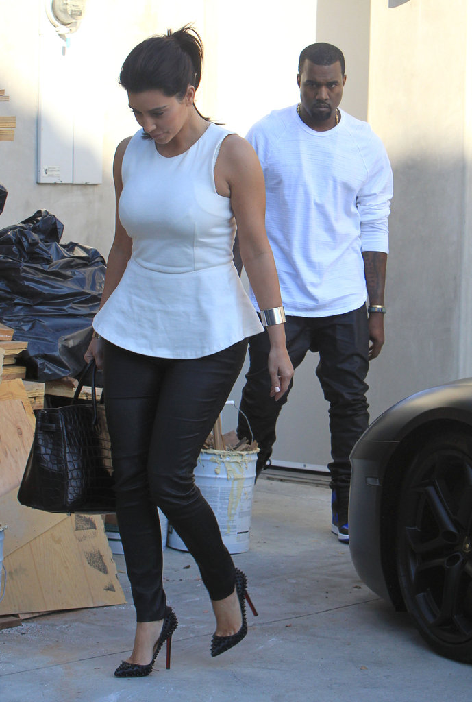 Kim Kardashian and Kanye West Meet Up For a Matching Moment