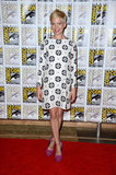 Michelle Williams stuck with her trademark brand of quirky cool in a printed long-sleeved Giulietta dress and fuchsia-hued Giuseppe Zanotti heels.