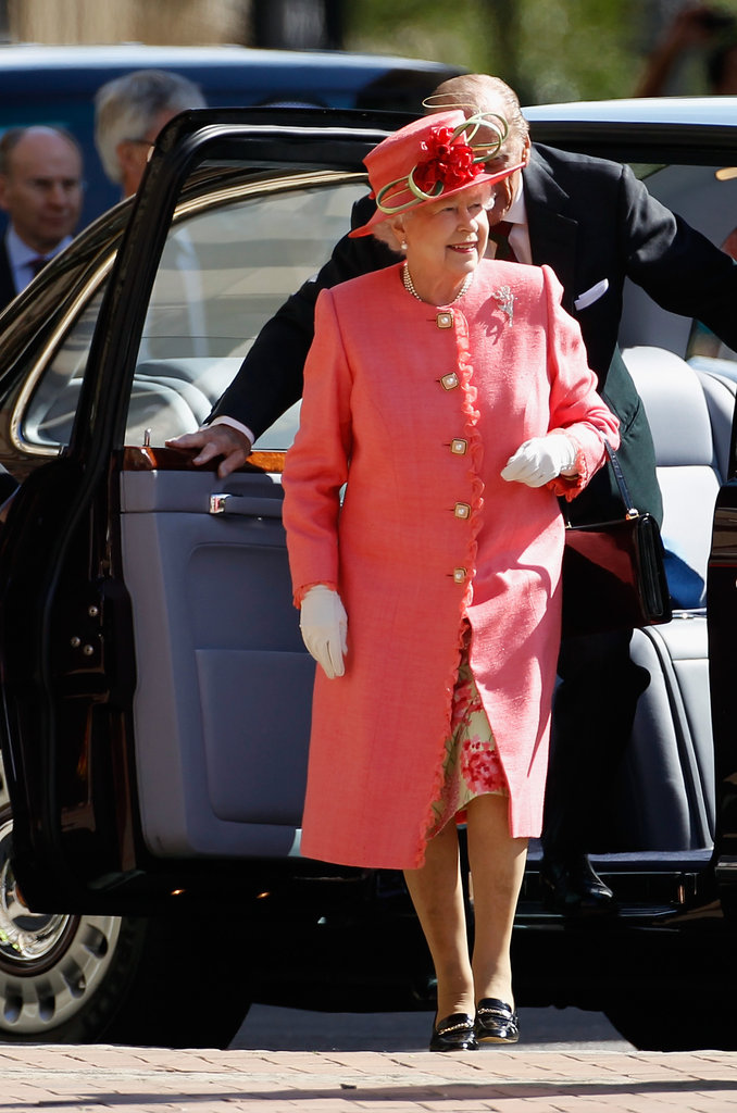 Queen Elizabeth exited the car with Prince Philip today in Birmingham.