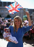 Alicia's mother waves the Union Jack!