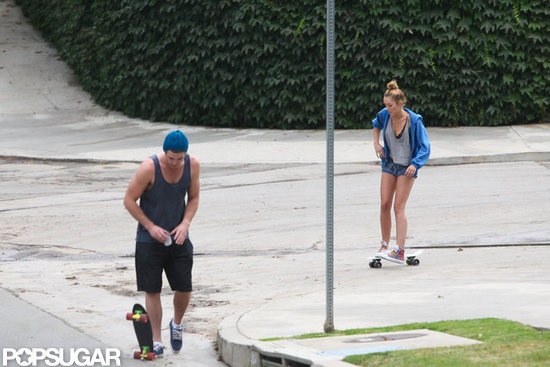Miley Cyrus skateboarded with Liam Hemsworth in LA.