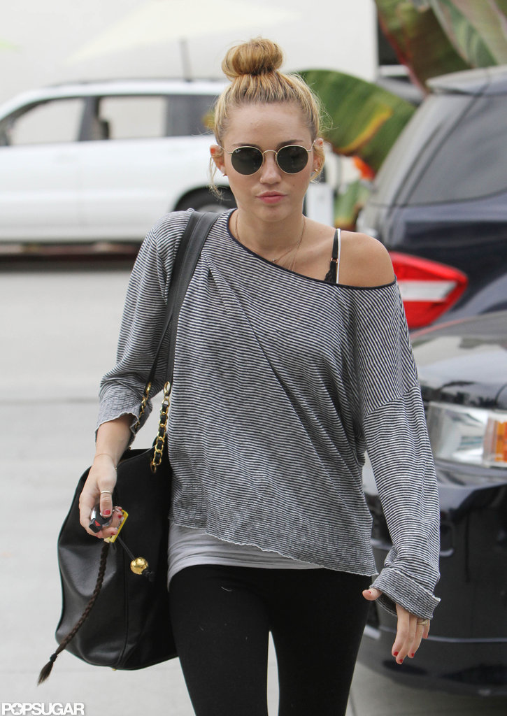 Miley Cyrus walked into Pilates in LA.
