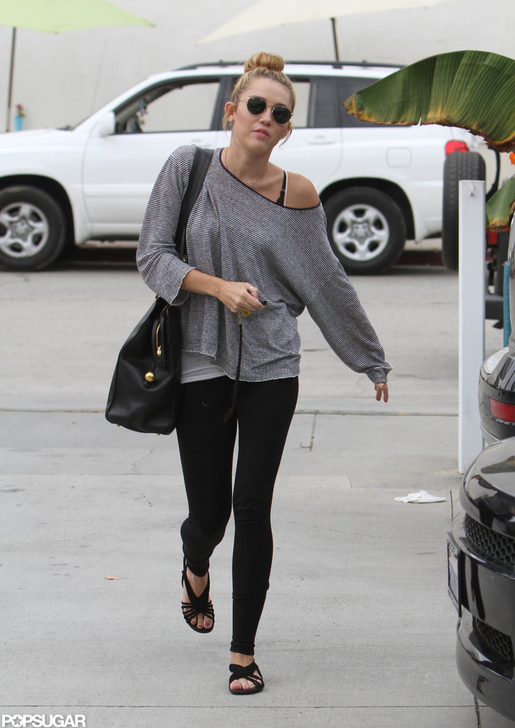 Miley Cyrus headed into pilates class in LA.