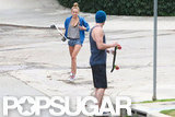 Miley Cyrus and Liam Hemsworth went skateboarding in LA.