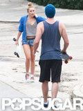 Miley Cyrus wore a bright blue zip-up and Liam Hemsworth wore a tank top and hat for a skateboarding darte around LA.