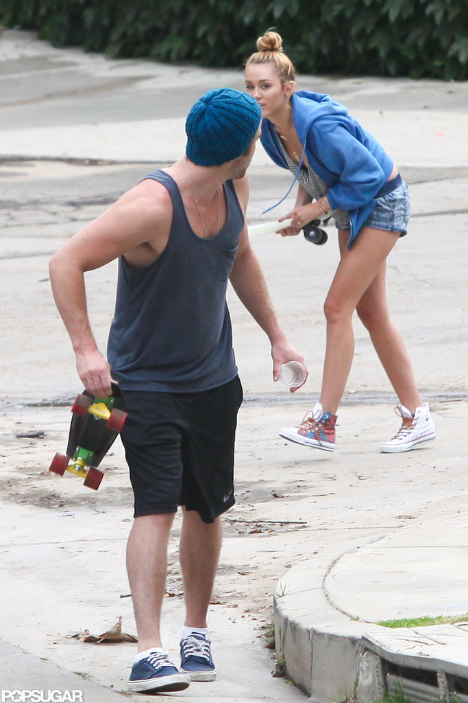 Miley Cyrus and Liam Hemsworth skateboarded together in their LA neighborhood.