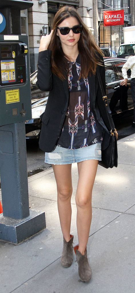 Miranda Kerr brought back the denim mini — this time with an Isabel Marant top and ankle boots for a boho touch.