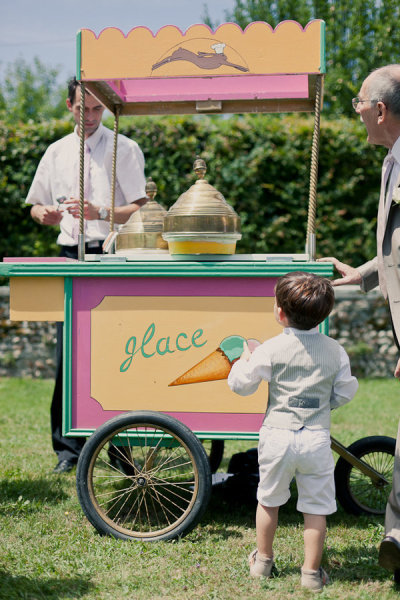 French Ice Cream Cart Photo by Mademoiselle Fiona Wedding Photography via Style Me Pretty