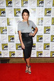 Love Nikki Reed's high-waisted leather skirt!