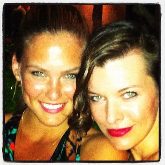 The beautiful Bar Refaeli and Milla Jovovich were hanging out. Love that lip colour, Milla!