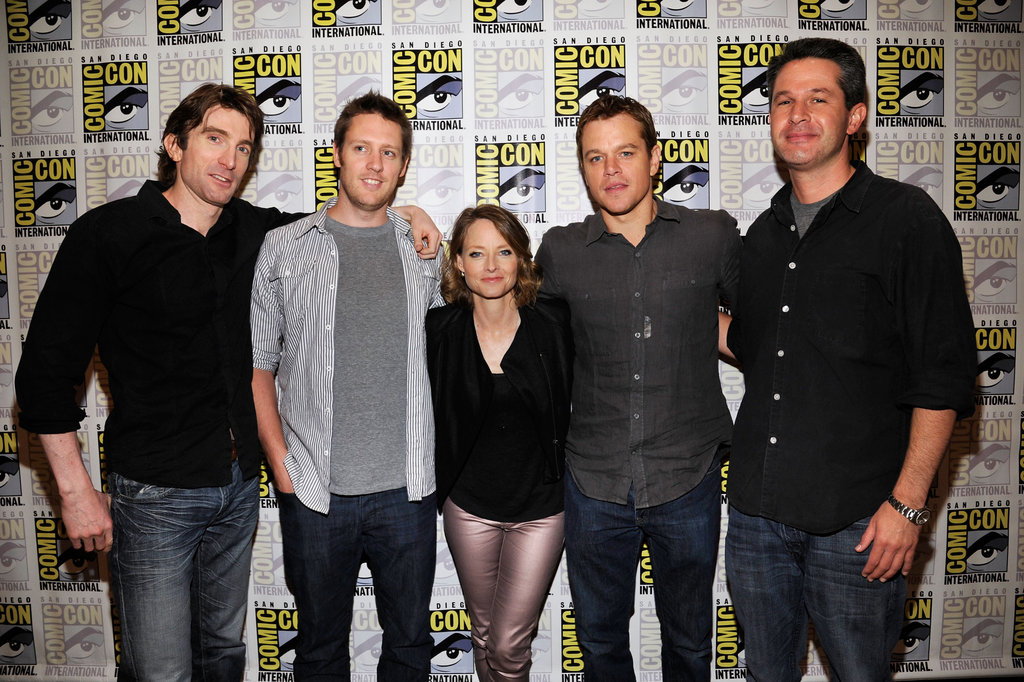 Sharlto Copley, director Neill Blomkamp, Matt Damon, Jodie Foster and producer Simon Kinberg promoted Elysium.
