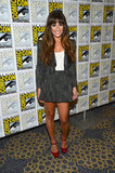 Lea Michele paired cute red ankle-strap Nicholas Kirkwood platforms with her textured Stella & Jamie short suit ensemble at the Glee panel.
