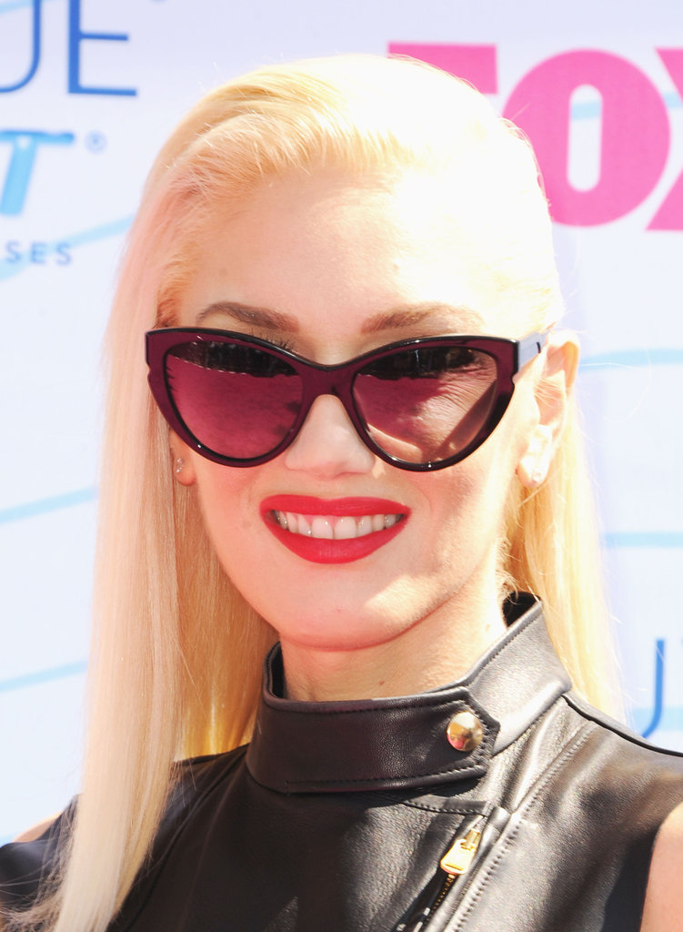 Gwen Stefani wore cat-eye shades.