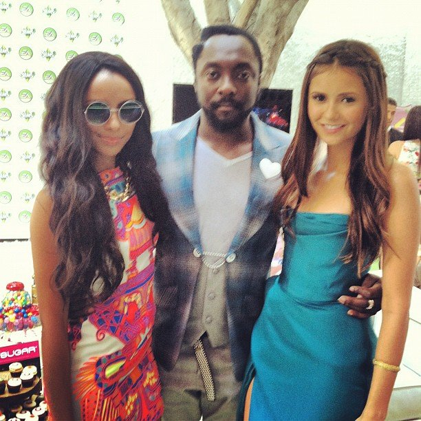 Kat Graham and Nina Dobrev posed with will.i.am. in the Teen Choice Awards green room. Source: Instagram user katgrahampics
