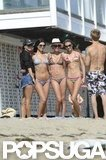 Alessanda Ambrosio posed for pictures with friends.