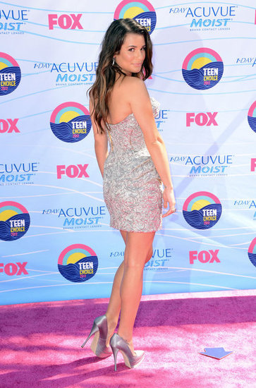 Back view of Lea Michele's shimmery look.
