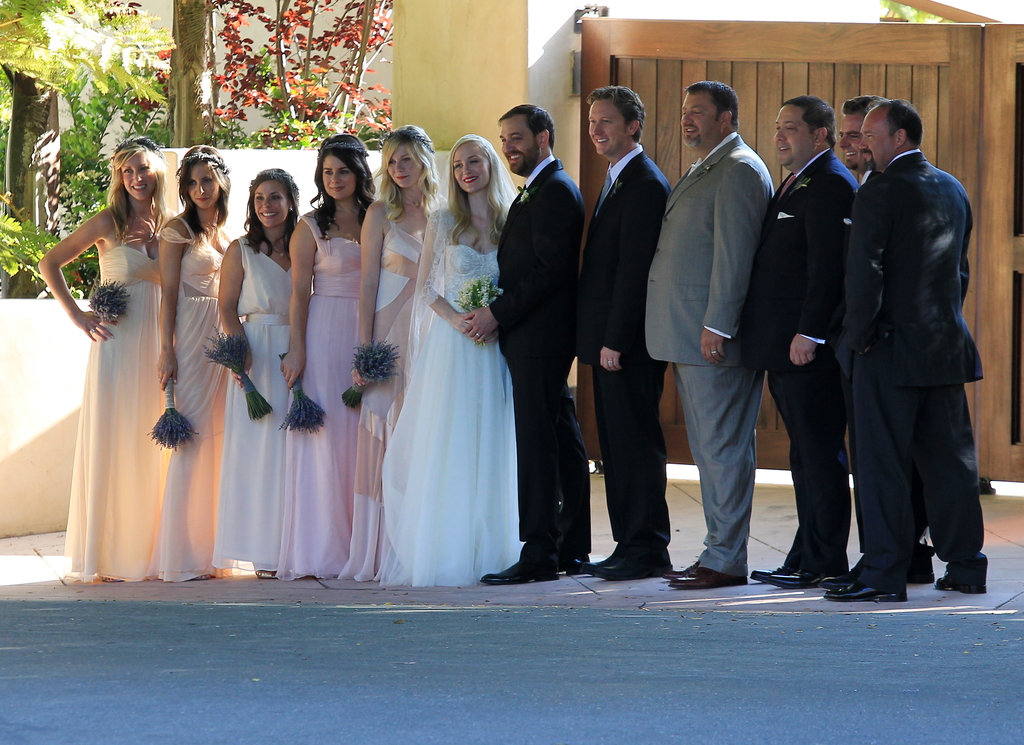 Kirsten Dunst joined a big group of friends for the wedding.