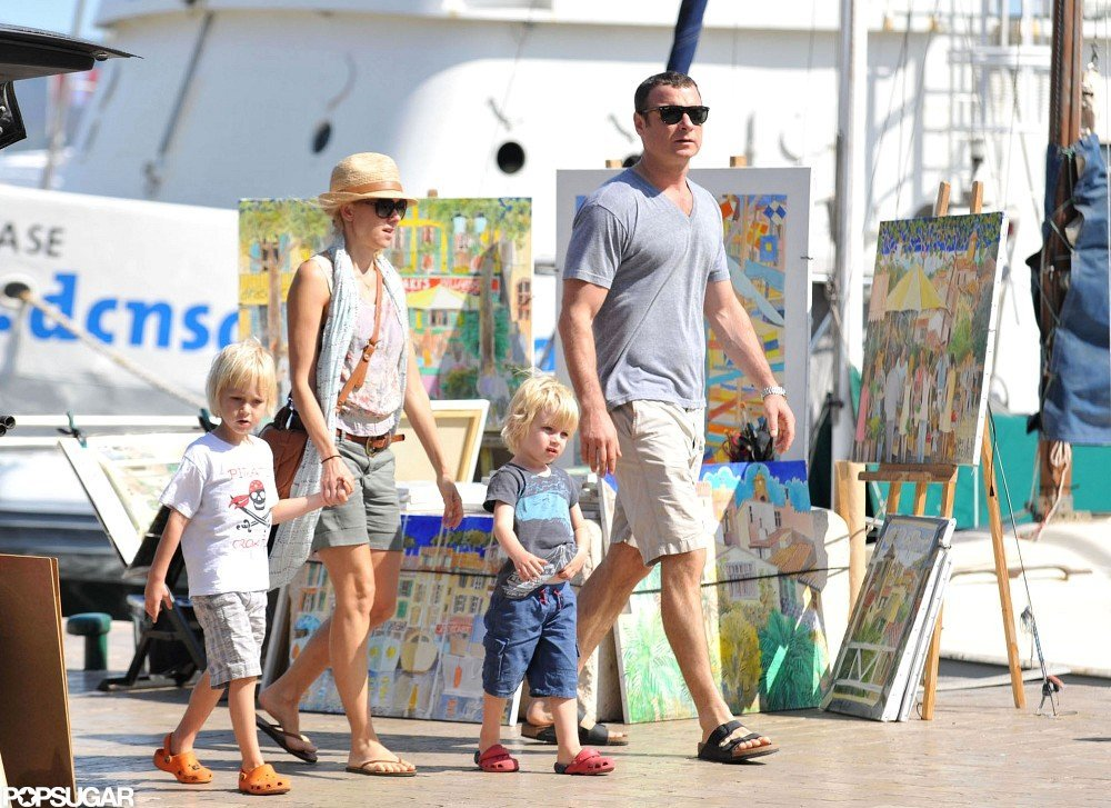 Naomi Watts and Liev Schreiber traveled to St.-Tropez with Sasha and Samuel in July 2012.
