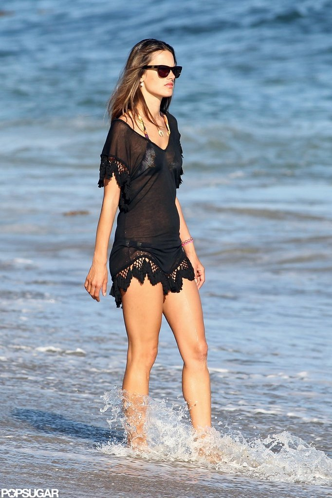 Alessandra Ambrosio Covers Up Her Bikini at a Family Beach Day