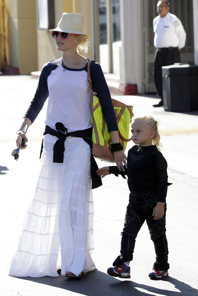 Gwen was out in LA with her son Zuma, in a Junk Food tee.