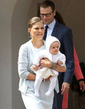 Sweden's Crown Princess Victoria held her baby daughter on Victoriadagen.