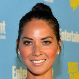 Olivia Munn kept it simple with a cute up 'do and minimal makeup.