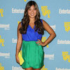 Jenna Ushkowitz Wearing a Blue-and-Green Colorblock Dress
