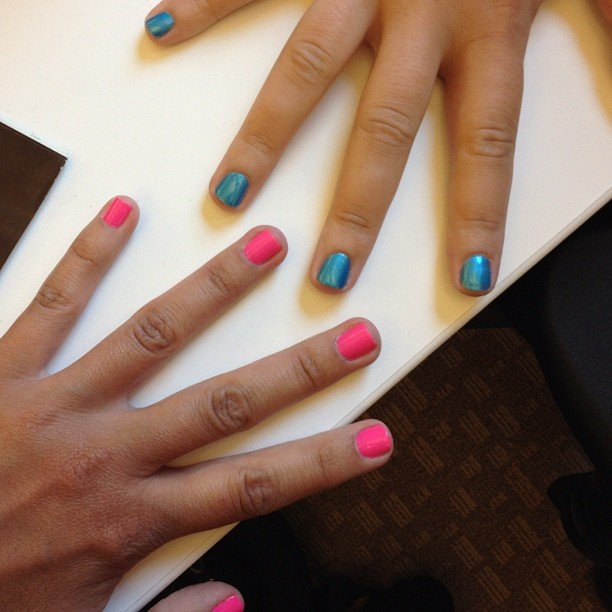 Comic-Con calls for fun nail art, so we went bold: hot pink and superhero blue.