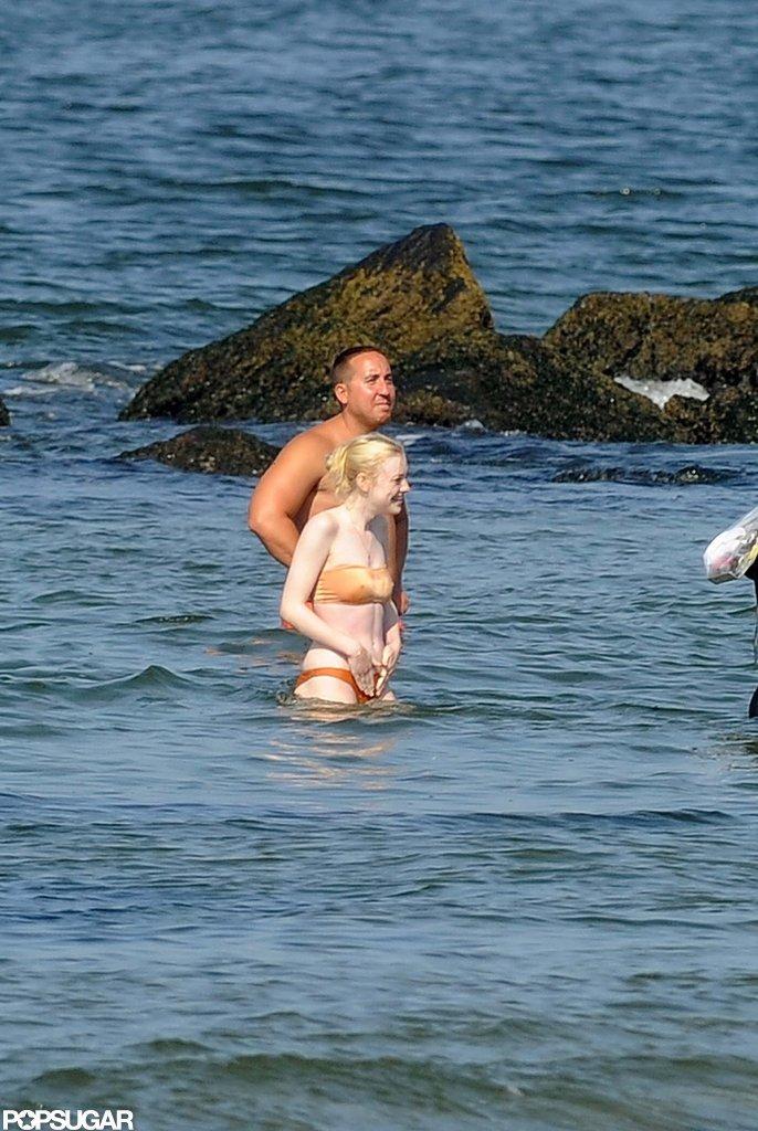 Dakota Fanning hit a Brooklyn beach in a bikini.
