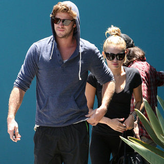 Engaged Miley Cyrus and Liam Hemsworth at Pilates