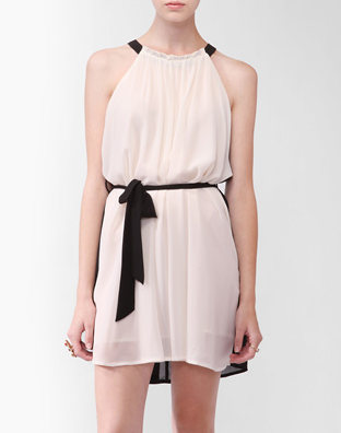 Appear chic and pulled-together in this evening-appropriate dress that's also entirely weather-practical.  Forever 21 Contrast Halter Swing Dress ($23)