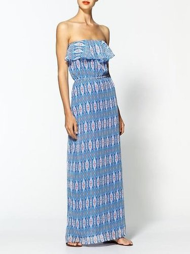 This may be an easy silhouette to slip on, but it certainly doesn't skimp on print.  Tulle Printed Chiffon Maxi ($79)