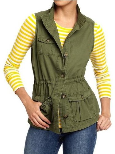 You may not want to pull out your army jacket in the heat, but a vest like this will have the same cool-girl effect.  Old Navy Women's Twill Cargo Vests ($30)